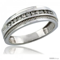 10k White Gold 12-Stone Milgrain Design Men's Diamond Ring Band w/ 0.31 Carat Brilliant Cut Diamonds, 1/4 in. (7mm) wide