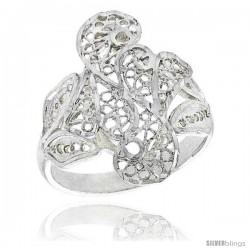 Sterling Silver Freeform Filigree Ring, 3/4 in