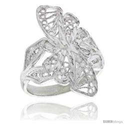 Sterling Silver Butterfly Filigree Ring, 7/8 in