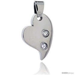 Stainless Steel Fancy Heart Pendant w/ 3 mm Crystals, 7/8 in tall, w/ 30 in Chain