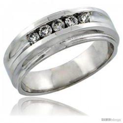 10k White Gold 5-Stone Ladies' Diamond Ring Band w/ 0.23 Carat Brilliant Cut Diamonds, 1/4 in. (7mm) wide