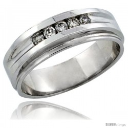 10k White Gold 5-Stone Men's Diamond Ring Band w/ 0.23 Carat Brilliant Cut Diamonds, 1/4 in. (7mm) wide