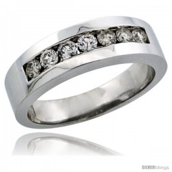10k White Gold 7-Stone Ladies' Diamond Ring Band w/ 0.32 Carat Brilliant Cut Diamonds, 7/32 in. (5.5mm) wide