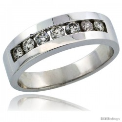 10k White Gold 7-Stone Men's Diamond Ring Band w/ 0.64 Carat Brilliant Cut Diamonds, 1/4 in. (6.5mm) wide