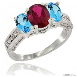 14k White Gold Ladies Oval Natural Ruby 3-Stone Ring with Swiss Blue Topaz Sides Diamond Accent