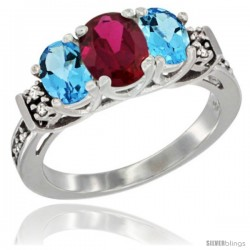 14K White Gold Natural High Quality Ruby & Swiss Blue Topaz Ring 3-Stone Oval with Diamond Accent