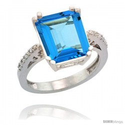14k White Gold Diamond Swiss Blue Topaz Ring 5.83 ct Emerald Shape 12x10 Stone 1/2 in wide
