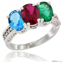 14K White Gold Natural Swiss Blue Topaz, Ruby & Emerald Ring 3-Stone 7x5 mm Oval Diamond Accent