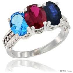 14K White Gold Natural Swiss Blue Topaz, Ruby & Blue Sapphire Ring 3-Stone 7x5 mm Oval Diamond Accent
