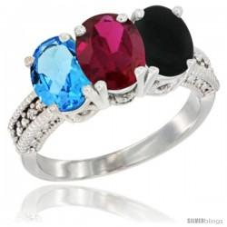 14K White Gold Natural Swiss Blue Topaz, Ruby & Black Onyx Ring 3-Stone 7x5 mm Oval Diamond Accent