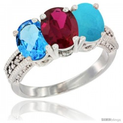 14K White Gold Natural Swiss Blue Topaz, Ruby & Turquoise Ring 3-Stone 7x5 mm Oval Diamond Accent