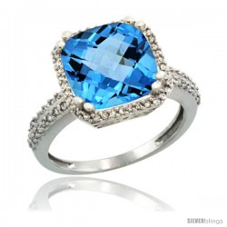 14k White Gold Diamond Halo Swiss Blue Topaz Ring Checkerboard Cushion 11 mm 5.85 ct 1/2 in wide