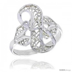 Sterling Silver Loop Filigree Ring, 3/4 in