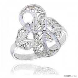 Sterling Silver Loop Filigree Ring, 3/4 in