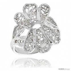 Sterling Silver Fan-shaped Filigree Ring, 3/4 in -Style Fr437