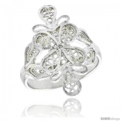 Sterling Silver Freeform Filigree Ring, 7/8 in