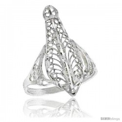 Sterling Silver Pear-shaped Filigree Ring, 1 in