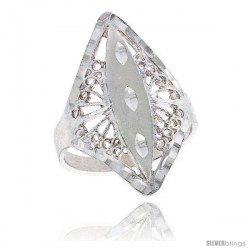 Sterling Silver Diamond-shaped Filigree Ring, 1 in -Style Fr446