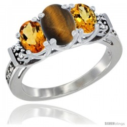 14K White Gold Natural Tiger Eye & Citrine Ring 3-Stone Oval with Diamond Accent