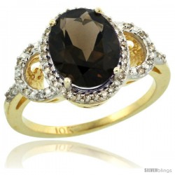 10k Yellow Gold Diamond Halo Smoky Topaz Ring 2.4 ct Oval Stone 10x8 mm, 1/2 in wide