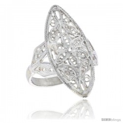 Sterling Silver Navette-shaped Floral Filigree Ring, 1 1/16 in