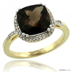 10k Yellow Gold Diamond Smoky Topaz Ring 3.05 ct Cushion Cut 9x9 mm, 1/2 in wide