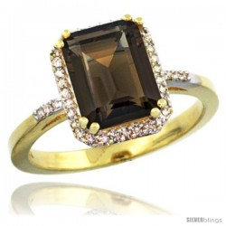 10k Yellow Gold Diamond Smoky Topaz Ring 2.53 ct Emerald Shape 9x7 mm, 1/2 in wide