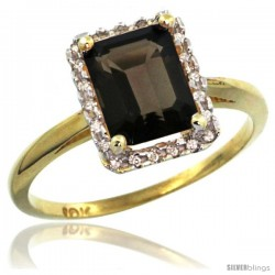 10k Yellow Gold Diamond Smoky Topaz Ring 1.6 ct Emerald Shape 8x6 mm, 1/2 in wide