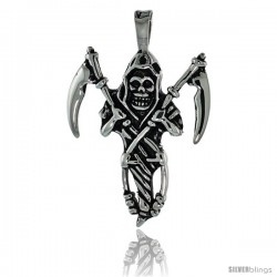 Stainless Steel Grim Reaper Skull Biker Pendant, 1 3/4 in tall with 30 in chain