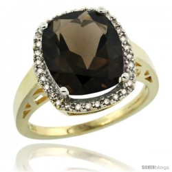 10k Yellow Gold Diamond Smoky Topaz Ring 5.17 ct Checkerboard Cut Cushion 12x10 mm, 1/2 in wide
