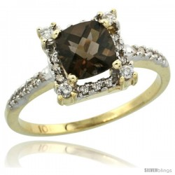 10k Yellow Gold Diamond Halo Smoky Topaz Ring 1.2 ct Checkerboard Cut Cushion 6 mm, 11/32 in wide