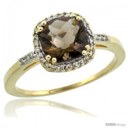 10k Yellow Gold Diamond Smoky Topaz Ring 1.5 ct Checkerboard Cut Cushion Shape 7 mm, 3/8 in wide