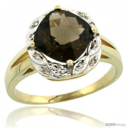 10k Yellow Gold Diamond Halo Smoky Topaz Ring 2.7 ct Checkerboard Cut Cushion Shape 8 mm, 1/2 in wide