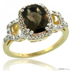 10k Yellow Gold Diamond Smoky Topaz Ring 2 ct Checkerboard Cut Cushion Shape 9x7 mm, 1/2 in wide