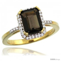 10k Yellow Gold Diamond Smoky Topaz Ring 1.6 ct Emerald Shape 8x6 mm, 1/2 in wide -Style Cy907129