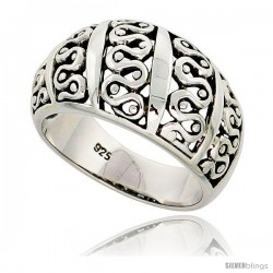 Sterling Silver Dome Cigar Band Wavy Pattern Ring Flawless finish 1/2 in wide