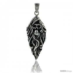 Stainless Steel Skull Biker Pendant, 1 3/4 in tall with 30 in chain