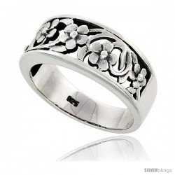 Sterling Silver Floral Vine Band Ring Flawless finish 3/8 in wide