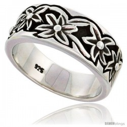 Sterling Silver Floral Pattern Band Ring Flawless finish 3/8 in wide