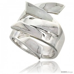 Sterling Silver Interlocking Fingers Ring Flawless finish 1 in wide