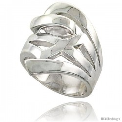 Sterling Silver Contemporary Designer Ring Flawless finish 1 in wide