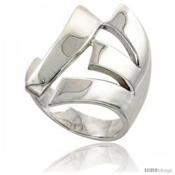 Sterling Silver Fork Ring Flawless finish 1 in wide