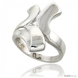 Sterling Silver Contemporary Designer Ring Flawless finish 1 in wide -Style Trp505