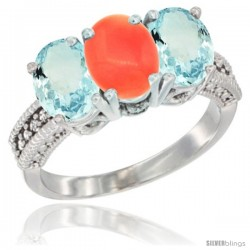 14K White Gold Natural Coral & Aquamarine Sides Ring 3-Stone Oval 7x5 mm Diamond Accent