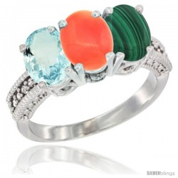 14K White Gold Natural Aquamarine, Coral & Malachite Ring 3-Stone Oval 7x5 mm Diamond Accent