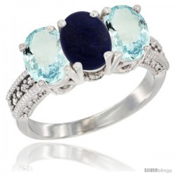 14K White Gold Natural Lapis & Aquamarine Sides Ring 3-Stone Oval 7x5 mm Diamond Accent