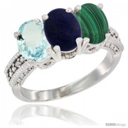 14K White Gold Natural Aquamarine, Lapis & Malachite Ring 3-Stone Oval 7x5 mm Diamond Accent