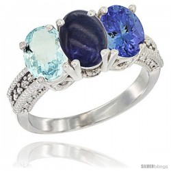 14K White Gold Natural Aquamarine, Lapis & Tanzanite Ring 3-Stone Oval 7x5 mm Diamond Accent