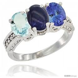 14K White Gold Natural Aquamarine, Lapis & Tanzanite Ring 3-Stone Oval 7x5 mm Diamond Accent