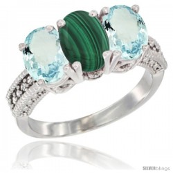 14K White Gold Natural Malachite & Aquamarine Sides Ring 3-Stone Oval 7x5 mm Diamond Accent
